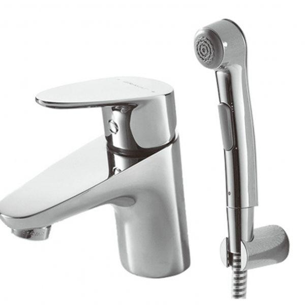 Смеситель для умывальника с гигиеническим душем Bravat Drop